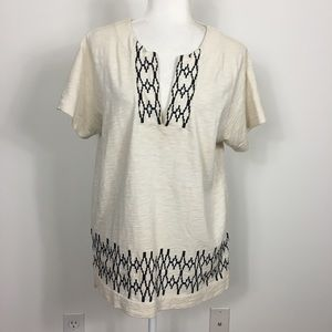 Madewell V Neck Off White Short Sleeve Shirt